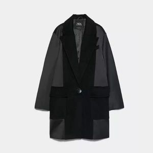 ZARA Mensware Style Coat With Contrasting Fabric